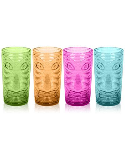 TarHong Tiki Jumbo Plastic Glasses, Set of 4