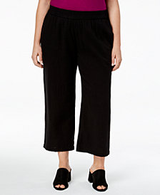 Eileen Fisher Plus Size Organic Cotton Straight-Leg Cropped Pants