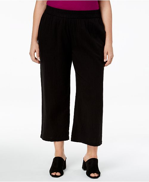 Plus Size Organic Cotton Straight-Leg Cropped Pants