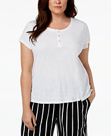 Eileen Fisher Plus Size Organic Cotton Cap-Sleeve Top