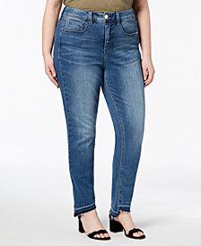 Seven7 Trendy Plus Size Step-Hem Skinny Jeans