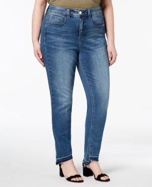 MELISSA MCCARTHY SEVEN7 Seven7 Trendy Plus Size Step-Hem Skinny Jeans in Kingman