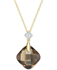 "Smoky Quartz (9 ct. t.w.) & Diamond Accent 18"" Pendant Necklace in 14k Gold"