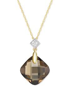 "Smoky Quartz (9 ct. t.w.) & Diamond Accent 18"" Pendant Necklace in 14k Gold"