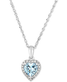 "Aquamarine (1/2 ct. t.w.) & Diamond Accent Heart 18"" Pendant Necklace in 14k White Gold"