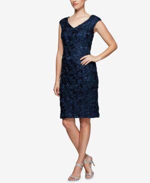 Alex Evenings Sequined Rosette Lace Dress 6273909