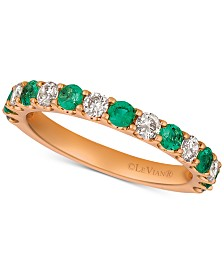 Le Vian® Emerald (1/3 ct. t.w.) & Diamonds (1/2 ct. t.w.) Band in 14k Rose Gold (Also Available in Ruby & Sapphire)