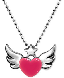 "Enamel Rainbow Winged Heart 16"" Pendant Necklace in Sterling Silver"