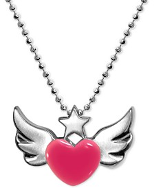 "Alex Woo Enamel Rainbow Winged Heart 16"" Pendant Necklace in Sterling Silver"