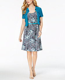 R & M Richards Petite Printed Dress and Jacket