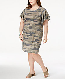 Lucky Brand Trendy Plus Size Camo-Print Dress