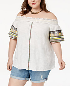 Lucky Brand Trendy Plus Size Cotton Off-The-Shoulder Top