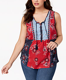 Style & Co Mixed Print Sleeveless Peasant Top, Created for Macy's
