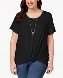 Style & Co Plus Size Twist High-Low Hem Top, Created for Macy's