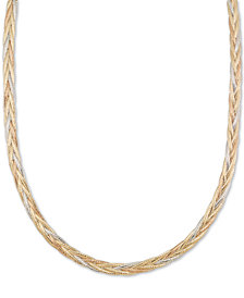 "Italian Gold Tri-Color Mesh Omega Braided 18"" Collar Necklace in 14k Gold, White Gold & Rose Gold, Made in Italy"