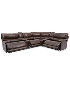Woodyn 6-Pc. Leather Sectional Sofa With 3 Power Recliners, Power Headrests, Lumbar, 2 Consoles And USB Power Outlet