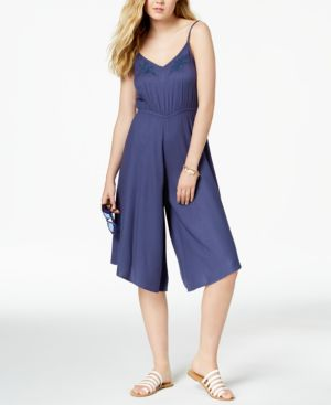 JUNIORS' WATERFALL REFLECT CROPPED WIDE-LEG JUMPSUIT