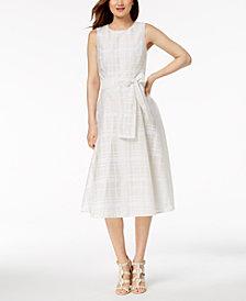 Calvin Klein Belted Organza Jacquard Midi Dress