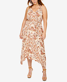 Lucky Brand Trendy Plus Size Handkerchief-Hem Dress