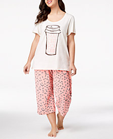 HUE® Plus Size Printed Capri Pajama Set
