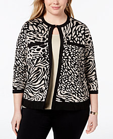 Anne Klein Plus Size Animal-Print Cardigan