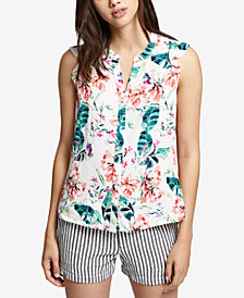 Sanctuary Ruffled Floral-Print Shirt