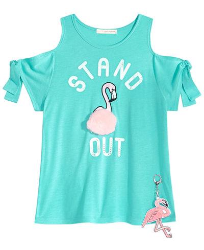 Self Esteem 2-Pc. Flamingo Cold Shoulder T-shirt & Keychain Set, Big Girls