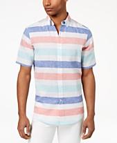 880d52d4a Club Room Men's Wide Striped Linen Blend Shirt, Created for Macy's