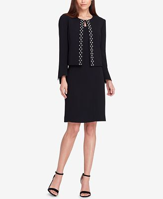 Tahari Asl Embellished Jacket Dress Suit Wear To Work Women
