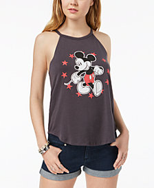 Hybrid Juniors' Mickey Mouse Graphic-Print Halter Top