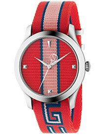 Gucci Men's Swiss G-Timeless Red, Blue & Pink Nylon Strap Watch 38mm