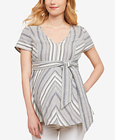 Jessica Simpson Maternity Cotton Tie-Front Top