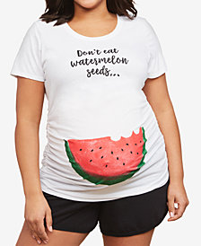 Motherhood Maternity Plus Size Don't Eat Watermelon Seeds Maternity Tee