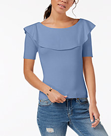 One Hart Juniors' Popover-Ruffle Top, Created for Macy's