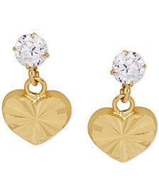 Children's Cubic Zirconia Heart Drop Earrings in 14k Gold