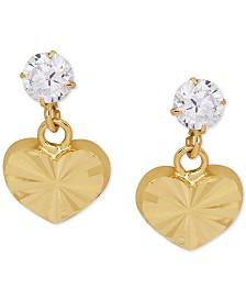 Children's Cubic Zirconia Heart Drop Earrings in 14k Gold