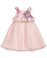 Bonnie Baby Baby Girls Rose Brocade Ballerina Dress (Pink)