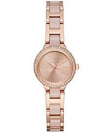 Michael Kors Women's Petite Taryn Rose Gold-Tone Stainless Steel & Blush Acetate Bracelet Watch 25mm