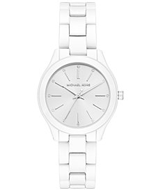 Michael Kors Women's Mini Slim Runway White Stainless Steel Bracelet Watch 34mm