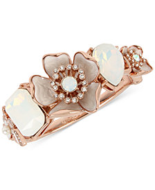 Betsey Johnson Rose Gold-Tone Crystal & Stone Flower Bangle Bracelet