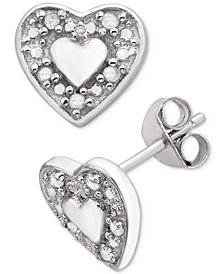 Diamond Heart Stud Earrings (1/10 ct. t.w.) in Sterling Silver