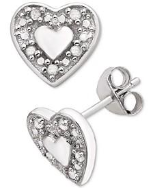 Diamond Heart Stud Earrings (1/10 ct. t.w.) in Sterling Silver