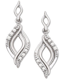 Diamond Twist Drop Earrings (1/10 ct. t.w.) in Sterling Silver