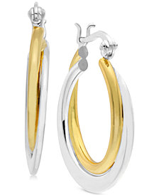 Essentials Small Two-Tone Polished Double Hoop Earrings in Gold- and Silver-Plate