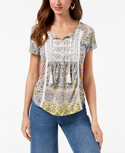 Style & Co Printed Embroidered-Bib Peasant Top, Created for Macy's