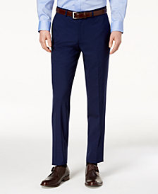 Cole Haan Men's Grand.OS Wearable Technology Slim-Fit Stretch Modern Blue Solid Suit Pants