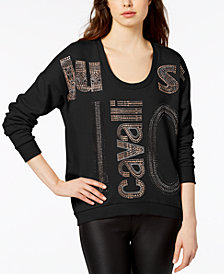 Just Cavalli Studded Cotton Logo Top