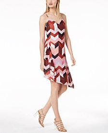 Bar III Geometric-Print Layered Slip Dress, Created for Macy's
