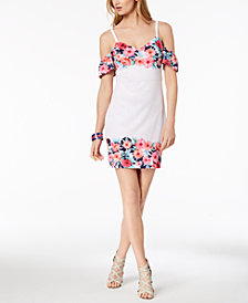 GUESS Floral-Border Cold-Shoulder Dress
