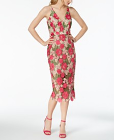 XSCAPE Floral-Pattern Lace Midi Dress